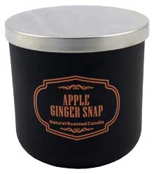"Aromakerze ""black is beautiful"", apple & ginger snap, H: 10cm, D: 10cm"