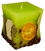 Candle cuboid Potpourri Fruechte (fruits) lime green