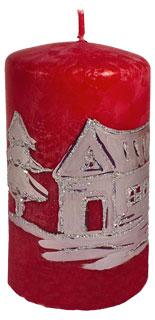 "Cylindrical candle ""Land of ice"", red"