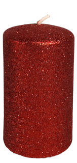 "Cylindrical candle ""Glamour"", red"