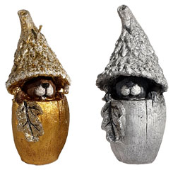 "Candle ""Dwarf"", set of 2, gold and silver"