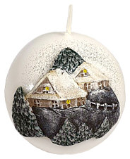 "Candle bowl ""Winter village"", white"