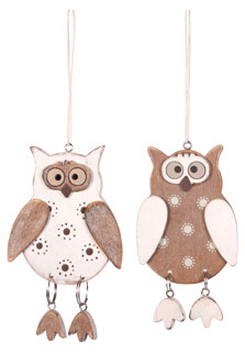 Wooden pendant owl with dots small, diff. motifs