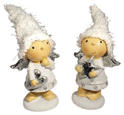 Couple of angels standing, with hat