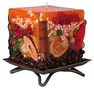 Candle cuboid with natural decor orange, 7x7x7cm
